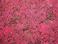 """Bali Batiks Green on Raspberry Red cotton fabric Size 22"""" x 18"""" larger available"""