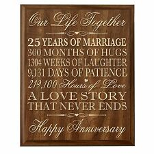 25th Wedding Anniversary Wall Plaque Gifts for Couple 25th Anniversary Gifts ...