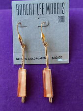 Robert L Morris SOHO Authentic NWT Gold-Tone Coral-Color Stick Linear Earrings