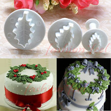 3Pcs Holly Leaf Cake Plunger Cookie Cutters Sugarcraft Fondant Decorating Mold#S