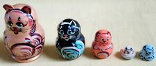 Cats Russian Nesting Doll/Micro size/5-pieces Set/FREE SHIPPING IN USA