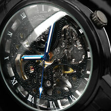 Black Skeleton Automatic Mans Steel Auto Self-Winding Men Mens Mechanical Watch