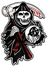 "Motorcycle Back Patch GRIM REAPER SONS OF ANARCHY  New Huge 13"" x 9"" Embroidered"