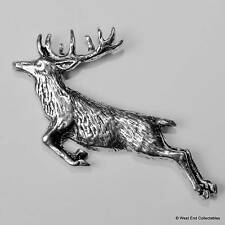 Springing Red Deer Stag Pewter Pin Brooch -British Hand Crafted- Antler Hunting