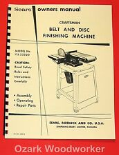 "Craftsman 6"" Belt and Disc Sander 113.22520 Operation & Parts Manual 1045"
