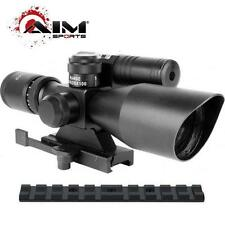 AIM 2.5-10x40 Quick Detach Scope + Mount + Green Laser Fits Ruger 22 10/22 Rifle