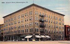 Illinois postcard Bloomington Illinois Hotel street scene