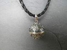 "Balinese Harmony Ball pendant genuine 925 silver 18mm ""Grey/Silver"" with cord"
