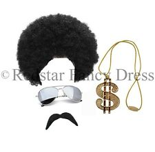 SCOUSER WIG DOLLAR NECKLACE TASH GLASSES FANCY DRESS NOVELTY 1980 80S ACCESSORY