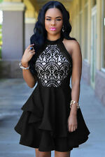 NEW BLACK NUDE LACE RUFFLE PUFF BALL SKATER PARTY DRESS TOP 8 10 UK