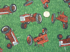Children's Fabric Red Farm Tractors on Green Grass Fat Quarter by VIP