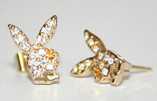 Playboy Ohrstecker Bunnys Strass gold NEU