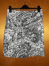 "Jobis 100%Cotton Paisley Print Pencil Skirt w/Tie Belt UK14 L20""Black/WhiteBNWoT"