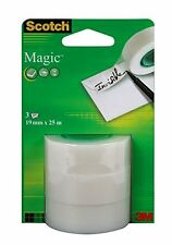 3 ROTOLI DI MAGIC cellotape, Sticky NASTRO SCOTCH NASTRO RICARICA ROLL 8-1925 Gratis P&P