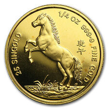 1990 Singapore 1/4 oz Gold Year of the Horse Coin - SKU #31867