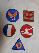 """LOT OF """"5"""" MISC VINTAGE ARMY MILITARY CLOTH PATCH PATCHES"""