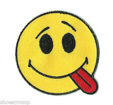 ACID SMILEY FACE EMOTICON EMBROIDERED PATCH BADGE FREE UK POSTAGE