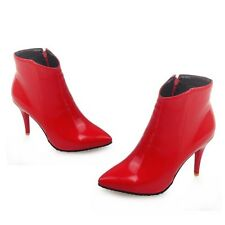 Ladies Womens Faux Leather Stiletto Pointed Toe Side Zipper Shoes Ankle Boots SZ