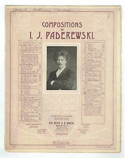 1908 CANZON Composition by I.J. PADEREWSKI Song Sheet Music
