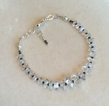 Herkimer Diamond bracelet with black tanzanite, and .925 silver