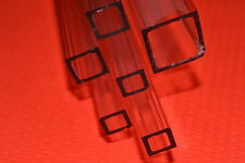CLEAR ACRYLIC PERSPEX PLASTIC SQUARE TUBE BAR HOLLOW metric 19mm 13mm 10mm 6mm