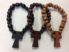 12 Pieces Square Wood Bead Religous Bracelet  Catholic Cross Rosary Elastic