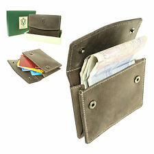 Mens Small Genuine Distressed Leather Oil Brown Credit Card Holder Wallet 505