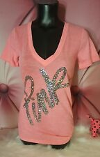 Victorias Secret PINK BLING Shirt Short Sleeve Tee Silver SEQUIN LOGO Nwt S