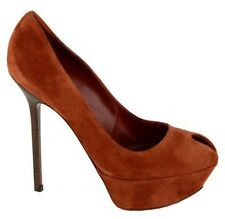 $730 SERGIO ROSSI SHOES CACHET PEEP TOE PLATFORM PUMPS BRICK SUEDE 40 10