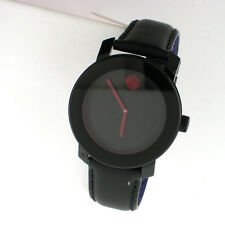 Movado Bold Ladies Swiss Watch Black Leather Band 3600161 SS 36MM
