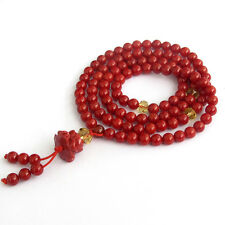 108 Red Coral Tibet Buddhist Prayer Beads Mala Lotus Pendant