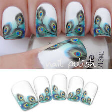 Nail Art Water Transfer Stickers Peacock Feather Wraps Foil Decal Tips Manicure