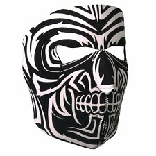 Black White Tribal Mask Neoprene Full Face Mask Biker ATV Ski Costume Reversible