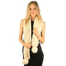 Winter Thick Chunky Soft Cable Knit Faux Fur Pom Pom Long Ski Snow Scarf Beige