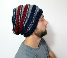 Mens Slouchy Beanie Knit Hat Unisex Knitted Cap Black Oversized Hat Striped Gray
