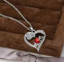 """I Love You Mum"" Necklace Jewellery Pendant Mother Xmas Birthday Gift Ruby Uk"