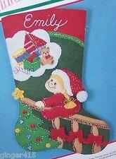 "Bucilla ""Christmas Dreams"" Felt Stocking Kit Child Completely Sterilized Vintage"