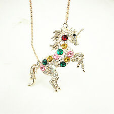 Woman Crystal Steed Horse Unicorn Pendant Necklace Long Sweater Chain 68cm Long