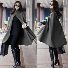 Women Warm Batwing Cape Loose Hooded cloak Windbreaker Poncho Jacket Wool coat