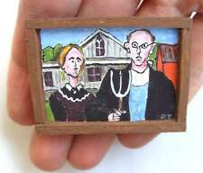 OOAK 1/12th Scale Dollhouse Miniature Painting - Grant Wod - American Gothic