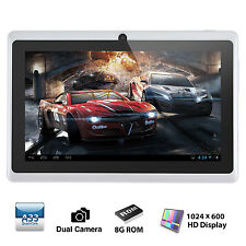 7'' Quad Core WIFI Tablet PC Google Android 4.4 KitKat 8GB Dual Camera White New