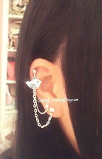 Tiny Bird Charm Cartilage Chain Helix Cuff Earring Double Piercing Jewellery