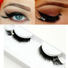 Curly Partial Long Rhinestone False Eyelash For Beauty Party Stage Eye Makeup