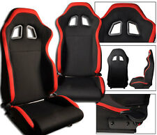 NEW 1 DRIVER SIDE BLACK & RED CLOTH CAR ADJUSTABLE RACING SEAT FORD **