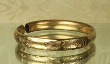 1800s Yellow GOLD Filled VICTORIAN BABY/CHILD'S Maiden Bracelet~Floral ENGRAVED