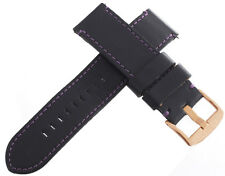 Android Mens 24mm Black Genuine Leather With Purple Stitching Watch Band Strap