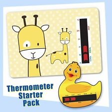 Baby Duck Bath & Yellow Giraffe Nursery Room Thermometer Starter Pack