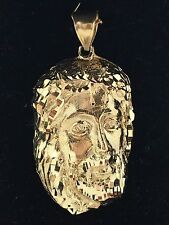 14k Solid Yellow Gold Jesus Christ Face Religious Charm Pendant 10 grams Jewelry