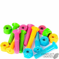 "SUSHI Neon Skateboard Truck Mounting Bolts 1"" Phillips x8  Fixings Multicoloured"
