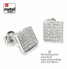 Real 925 Silver Men Hip Hop Square Flat Screen Screw Back Stud Pave Earring 455S